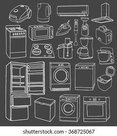 Household appliances hand drawn set. Vector illustration of doodle household appliances.