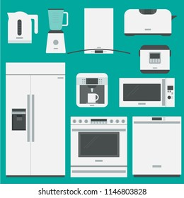 Household appliances for kitchen. Set of white isolated mockups on green background. Vector illustration, flat style.