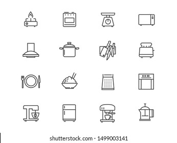 Household appliances and kitchen vector linear icons set. Kitchen outline symbols pack. Collection of cooking tools icons isolated contour illustrations. Scales. Microwave. Toaster. Electric kettle