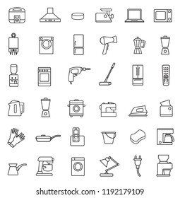 Household appliances line icon set in minimalist style. Black line sign on white background. Rice cooker, boiler, dryer, cooker hood, electric dril, blender, kettle, toaster and other