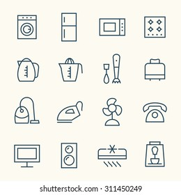 Household appliances line icons