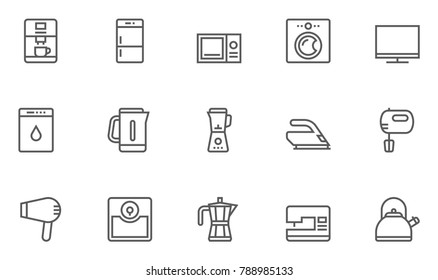 Household Appliances Line Icons contains Washing Machine, Kettle, Microwave Oven, Hob, Blender, Fridge, Coffee Maker and more. Editable Stroke. 48x48 Pixel Perfect.