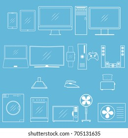 Household appliances outline icons. Different modern household equipment and digital devices icon for web design. Vector illustration.