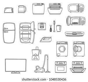 Household appliances set. Home technics. TV, refrigerator, conditioner, dishwasher, oven, kettle, iron, multicooker, blender mixer vacuum cleaner washing machine microwave toster Vector illustratoin