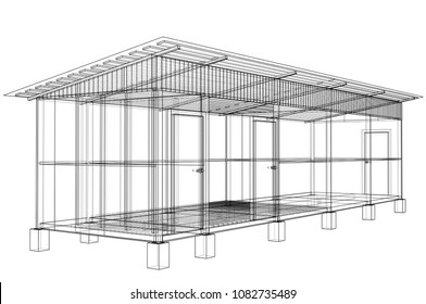 Household building project. Vector rendering of 3d. Wire-frame style. The layers of visible and invisible lines are separated