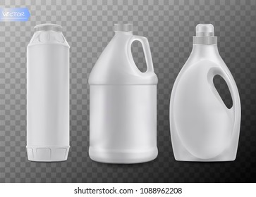 Household chemicals blank plastic bottles with handle, realistic vector isolated on transparent background. Liquid detergent or soap, stain remover, laundry bleach, bathroom or toilet cleaner