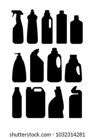 Household chemicals and cleaners. Silhouettes of containers and bottles household chemicals. Vector illustration.