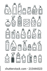 household chemicals and cleaning supplies bottles icons