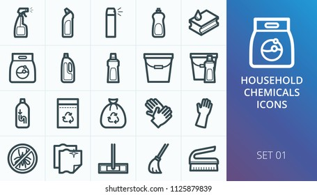 Household chemicals icons set. Set of household chemicals, liquid detergent, dishwashing liquid, cleanser, mop, pipe cleaner, washing powder icons
