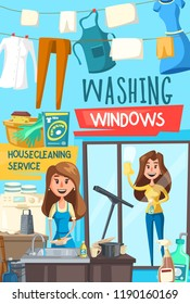 Household chores, housekeeping service. Housecleaning service, kitchen sink and laundry on rope. Woman with cloth and cleaner sprayer washes glass, washing machine. Cartoon vector