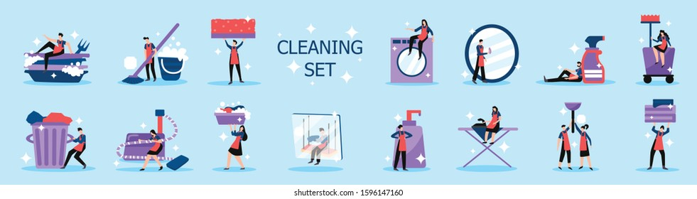 Household chores professional home and industrial cleaning service people tools flat icons set background isolated vector illustration