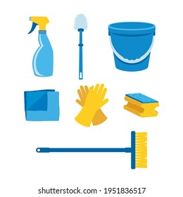Household cleaning products icon set vector. Household item and cleaning supply vector. Cleaning tools icons isolated on a white background