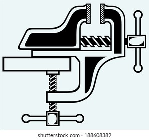 Household desktop vice. Isolated on blue background