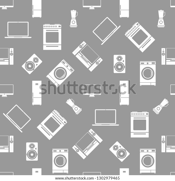 Household Electrical Appliances Seamless Pattern Vector ... on basic electronic symbols, kitchen symbols, lighting symbols, residential electric symbols, residential drafting symbols, circuit symbols, heating and cooling symbols, carpentry symbols, electronic component symbols, household appliances, printable wiring diagram symbols, industrial wiring symbols, voice and data symbols, clothing symbols, tools symbols, bathroom symbols, residential wiring symbols, automotive symbols, wallpaper symbols, electronic schematic symbols,
