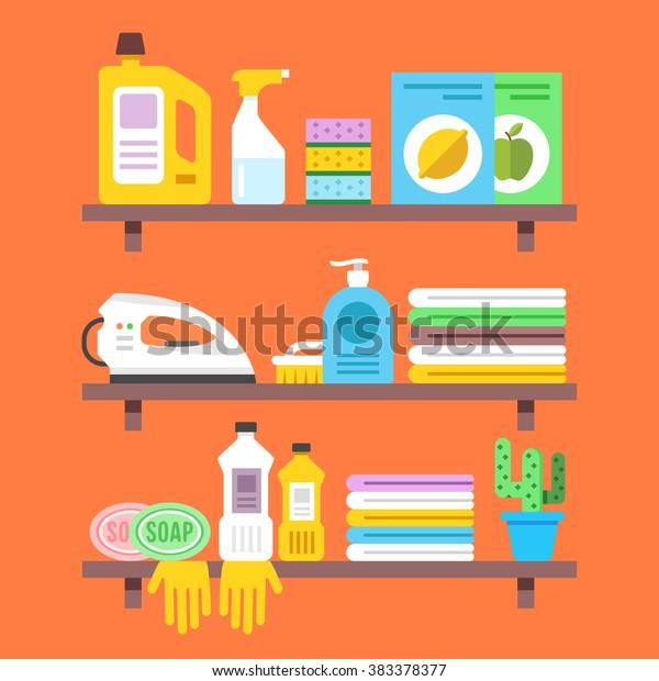 Sistemazione Merce Sugli Scaffali.Immagine Vettoriale Stock 383378377 A Tema Articoli Per La Casa