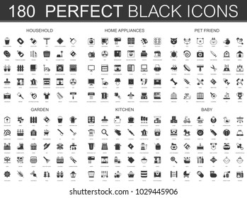 Household, home appliances, pet friend, garden, kitchen, baby black classic icon set.