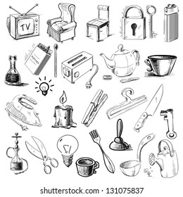 Household home objects collection. Hand drawing sketch vector illustration