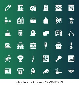 household icon set. Collection of 36 filled household icons included Colander, Detergent, Cleaver, Glove, Freezer, Microwave, Dishwasher, Slotted spoon, Extractor, Broom, Strainer