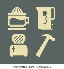 household icon set with hammer, kettle and toster vector illustration