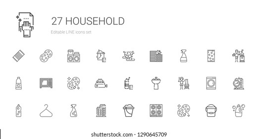 household icons set. Collection of household with sponge, stove, bucket, building, window cleaner, hanger, detergent, chimney, sink, microwave. Editable and scalable household icons.