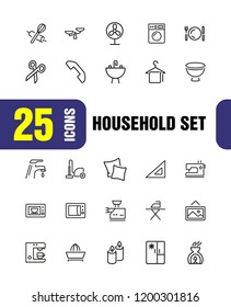 Household icons. Set of line icons. Ironing, faucet, oven. Housekeeping concept. Vector illustration can be used for topics like home appliance, decoration, housecleaning.