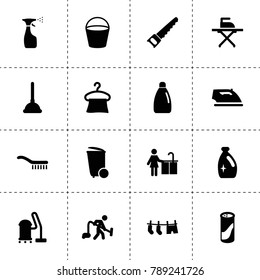 Household icons. vector collection filled household icons. includes symbols such as spray bottle, trash bin, bucket, vacuum cleaner. use for web, mobile and ui design.
