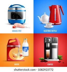 Household kitchen appliances 2x2 design concept set of coffee machine mixer electric kettle crock pot realistic vector illustration