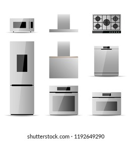 Household Kitchen Appliances Set On A White Background. Vector Illustration  EPS10