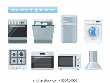 Household kitchen appliances set. Vector illustration.