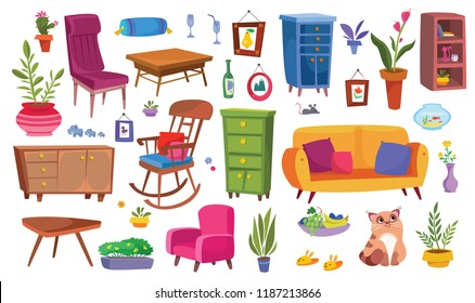 Household large furniture set. Household items and plants. Cartoon illustrations in the style of flat. Vector on white background.