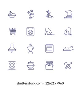 Household line icon set. Washing machine, cooking, gardening. Housework concept. Can be used for topics like home appliance, housekeeping, cleaning