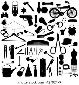 household objects silhouette set