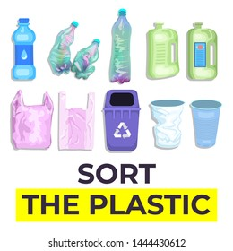 Household plastic trash. Empty bottles, bags, boxes and cups. City pollution topic. Isolated objects.