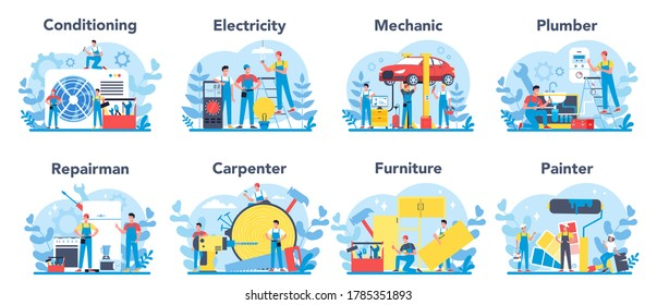 Household and renovation profession set. Home Master. Repairman, carpenter, mechanic, painter, plumber, canditioning, furniture master electrician service. Isolated flat vector illustration