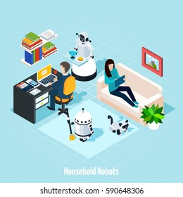Household robots isometric composition with robots helping young family resting in free time vector illustration