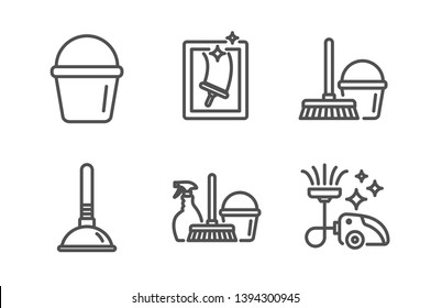 Household service, Bucket and Plunger icons simple set. Window cleaning, Bucket with mop and Vacuum cleaner signs. Cleaning equipment, Washing equipment. Cleaning set. Line household service icon