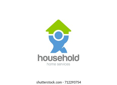 Household service Logo design vector template. Man holding House Home Logotype concept icon.