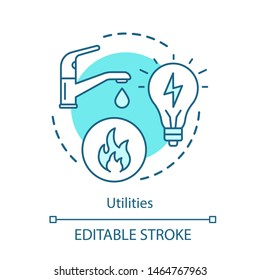 Household services concept icon. Public utilities, water, electricity supply idea thin line illustration. Natural gas, apartment heating system. Vector isolated outline drawing. Editable stroke