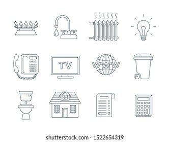 Household services utility bill icons. Vector flat thin line symbols of regular payments such as gas, water, electricity, heating, telephone, cable TV, Internet, garbage, sewage. Outline pictograms