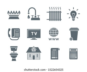 Household services utility bill icons. Vector flat silhouette symbols of regular payments such as gas, water, electricity, heating, telephone, cable TV, Internet, garbage, sewage. Simple pictograms