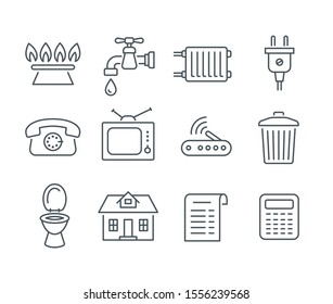 Household services utility bill icons. Vector flat thin line regular payments symbols such as gas, water, electric energy, heating, telephone, cable TV, Internet, garbage, sewage. Outline pictograms