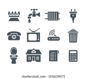 Household services utility bill icons. Vector flat silhouettes regular payment symbols such as gas, water, electric energy, heating, telephone, cable TV, Internet, garbage, sewage. Simple pictograms