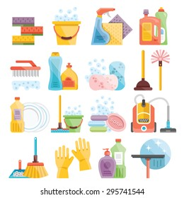 Household supplies and cleaning flat icons set. Flat design concepts for web banners, web sites, printed materials, infographics
