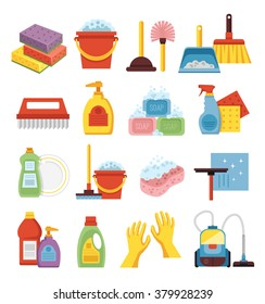 Household supplies and cleaning flat icons set.