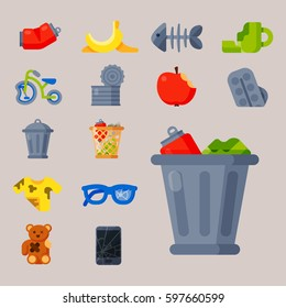Household waste garbage icons vector illustration trash recycling ecology environment isolated recycle concept plastic paper symbol trash waste can bin eco