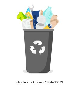 Household waste. Trash bin with garbage. Plastic, paper, glass and other rubbish. Vector illustration