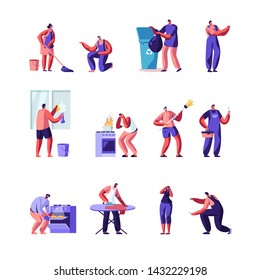 Householders Characters Cleaning Home , Repair Masters Set. People Everyday Routine, Specialists Fixing Technics Service. Housekeeping Management of Duties and Chores. Cartoon Flat Vector Illustration