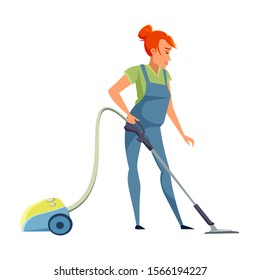 Housekeeper flat vector illustration. Smiling female cleaner in apron cartoon character. Young chambermaid, housekeeping staff. Housemaid occupation