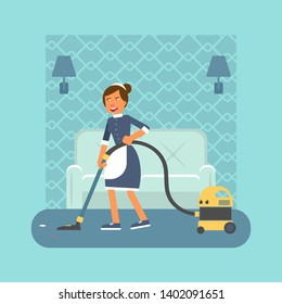 Housekeeper with hoover flat vector illustration. Smiling female cleaner in apron cartoon character. Young chambermaid, housekeeping staff. Hotel room vacuum cleaning service. Housemaid occupation