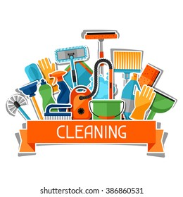Housekeeping background with cleaning sticker icons. Image can be used on advertising booklets, banners, flayers, article, social media.